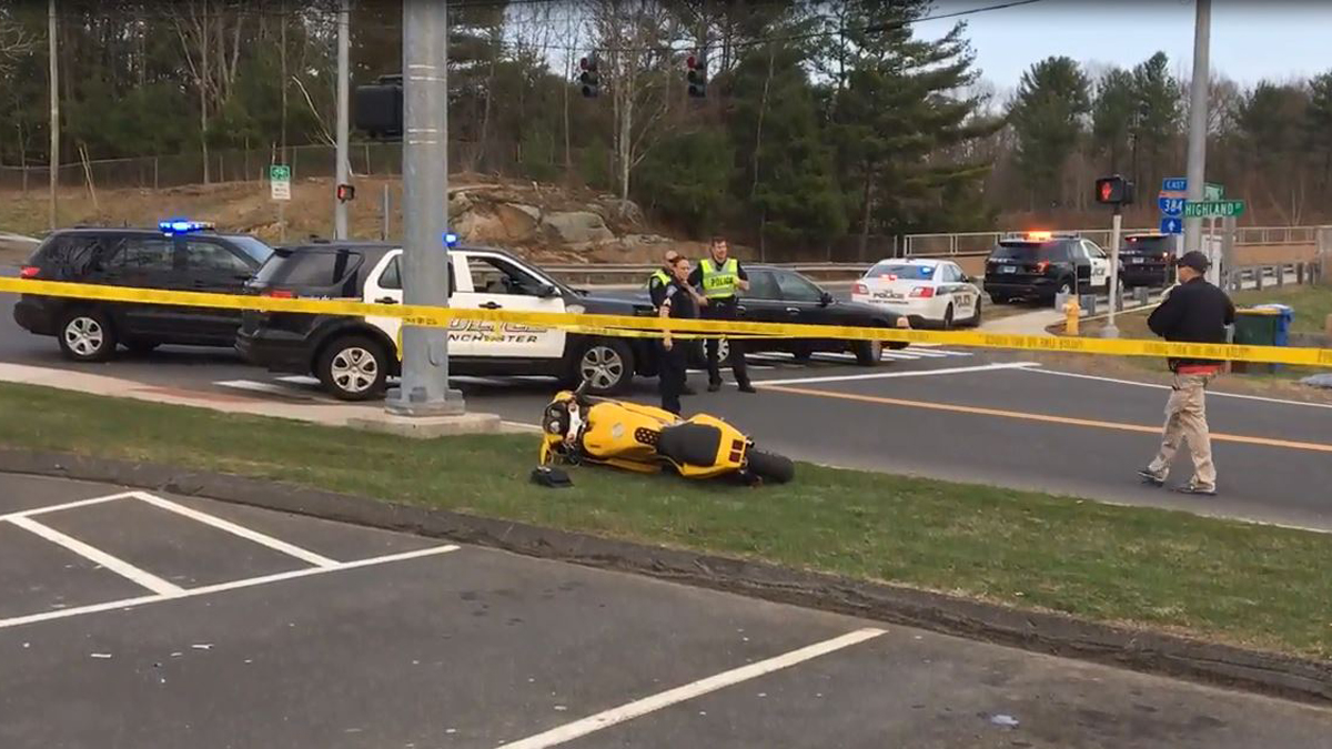 A motorcyclist was killed in a crash on Highland Street in Manchester Saturday.