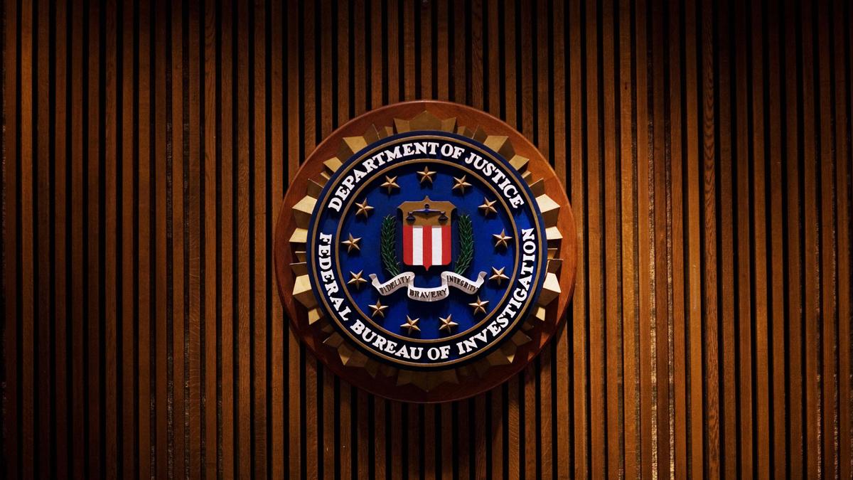 A crest of the Federal Bureau of Investigation inside the J. Edgar Hoover FBI Building in Washington, DC.