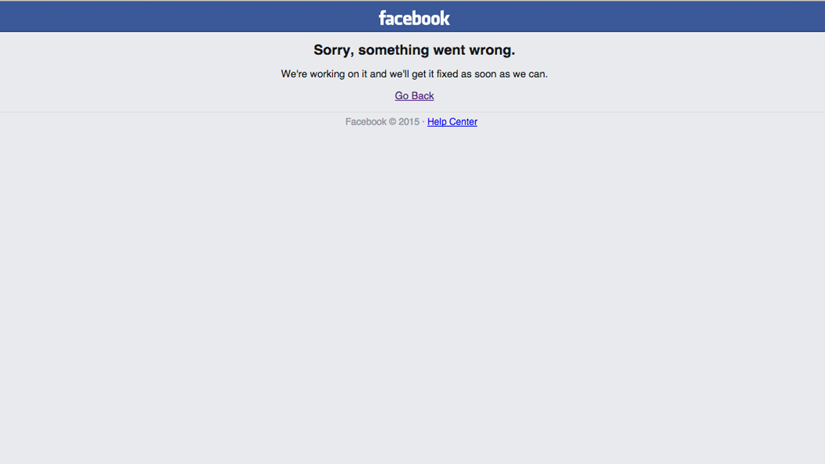 Facebook users were receiving this message after trying to access their accounts.