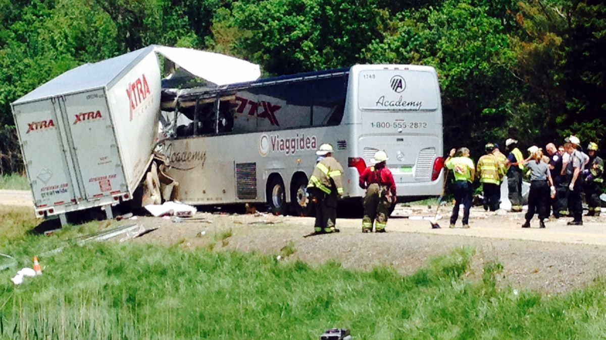 The aftermath of a collision between a bus carrying Italian tourists and a trailer on I-380 in the Pocono Mountains.