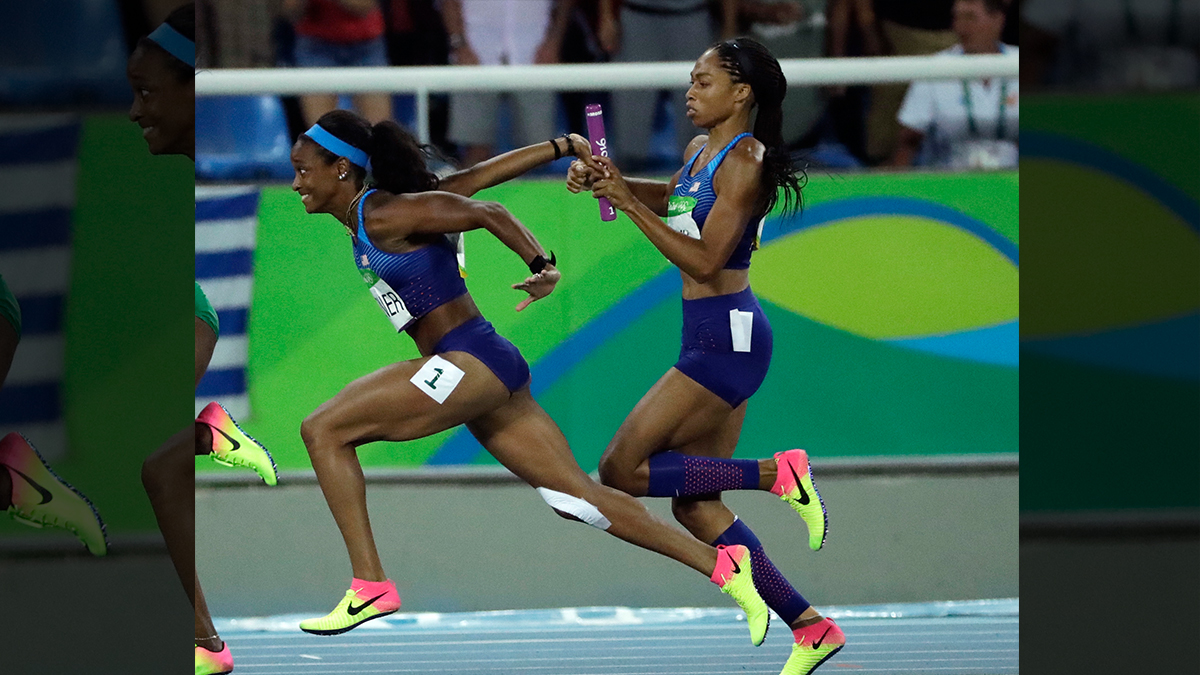Before Allyson Felix passed the baton to English Gardner in the women's 4 x 100-meter relay final on Aug. 19, she handed her an extra pair of shoes.