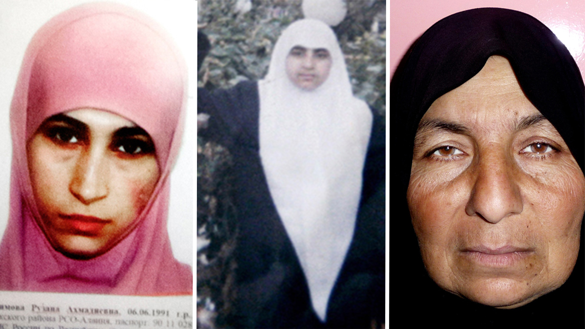 A photo of Ruzanna Ibragimova, far left, was distributed by Russian officials in 2014 about potential threat; Palestinian suicide bomber, Merfat Masoud, center; and Samira Ahmed Jassim, suspected of recruiting more than 80 female suicide bombers, in a photo while in police custody in Iran.