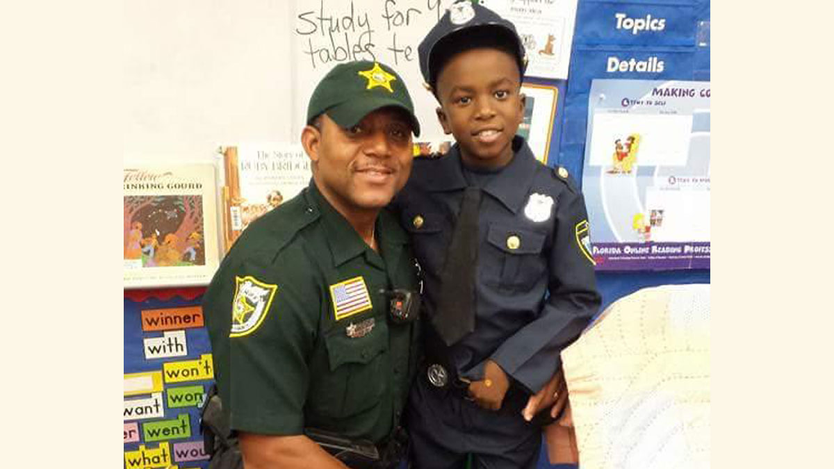 Palm Beach County Sheriff's Deputy Fernandas Jones and his 9-year-old son, Jaden, (pictured) were among three killed when they vanished on a fishing trip over the weekend, according to family and officials.