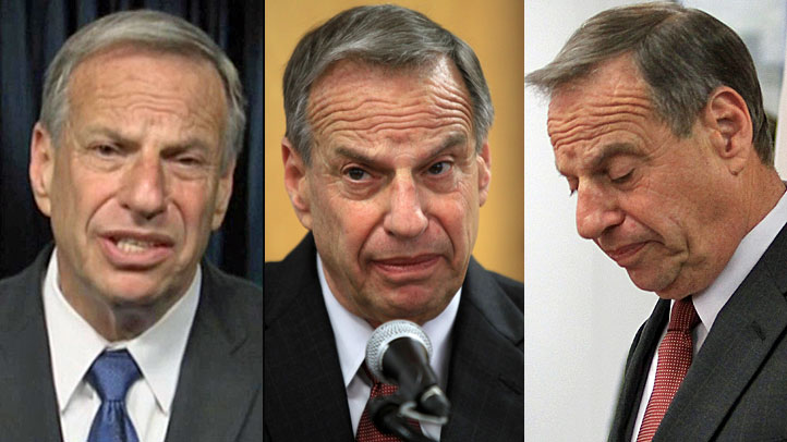 Mayor Filner as he apologizes for disrespecting women (L) and the moment he announced he will undergo intense therapy in response to sexual harassment allegations.