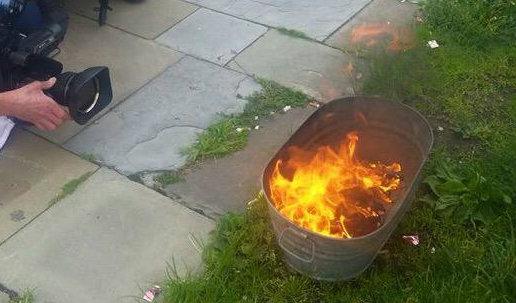 Activists burn Confederate flags in Philadelphia on June 19, 2015.