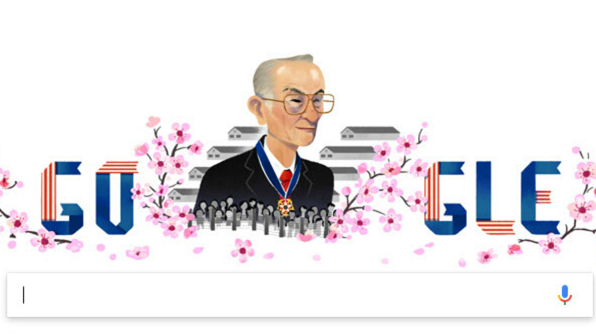 In the picture, the Fred Korematsu of Oakland wearing his Presidential Medal of Freedom given to him by then President Bill Clinton with a scene of the internment camps to his back. He's surrounded by cherry blossoms and flowers that have come to be symbols of peace and friendship between the United States and Japan. Jan. 30, 2017