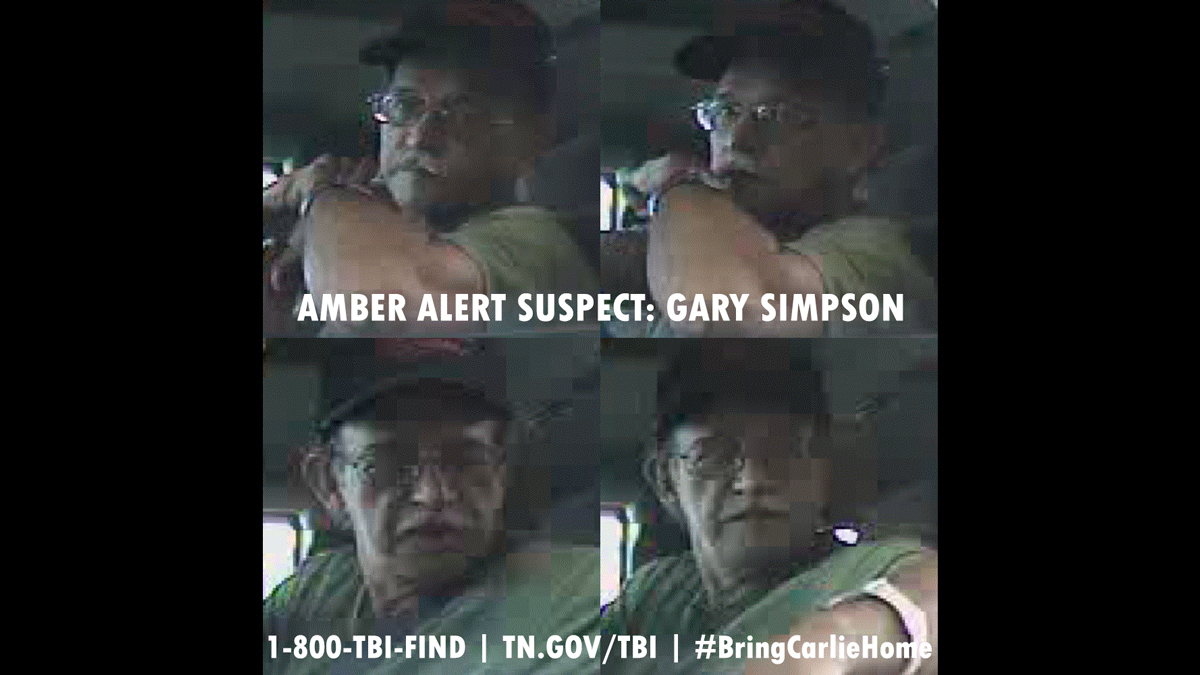 Surveillance video from a Rogersville, Tennessee, bank depicts Gary Simpson withdrawing funds on the morning of May 4th, shortly before picking up niece Carlie Trent, 9, from school. He was arrested a week later, and Carlie was found safe.