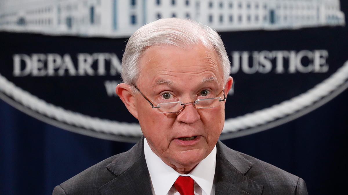 Attorney General Jeff Sessions speaks at a press conference about the apprehension of a suspect in the recent spate of mail bombings at the Department of Justice on Oct. 26, 2018, in Washington, D.C.
