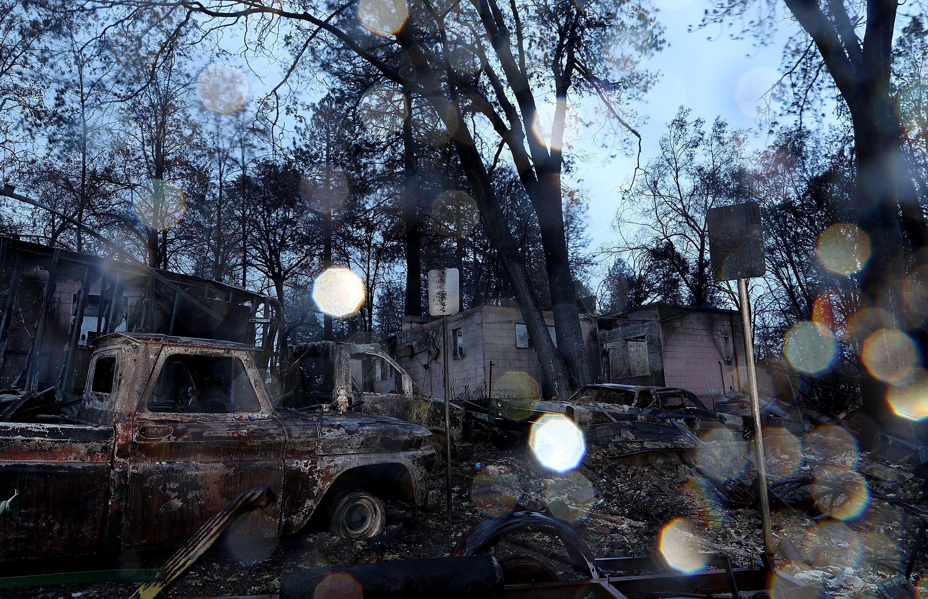 A view of home destroyed by the Camp Fire on Nov. 22, 2018 in Paradise, California.