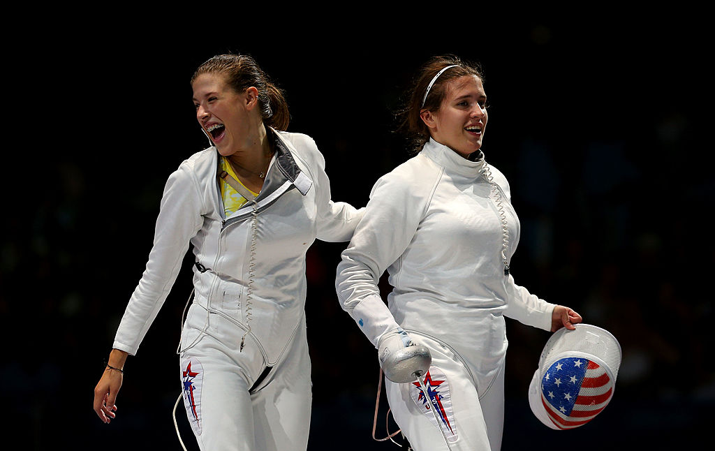Courtney Hurley (R) of the United State teammate Kelley Hurley (L) celebrate winning the Bronze Medal Match 31-30 against Russia during the Women's Epee Team Fencing Finals on Day 8 of the London 2012 Olympic Games at ExCeL on Aug. 4, 2012, in London, England.