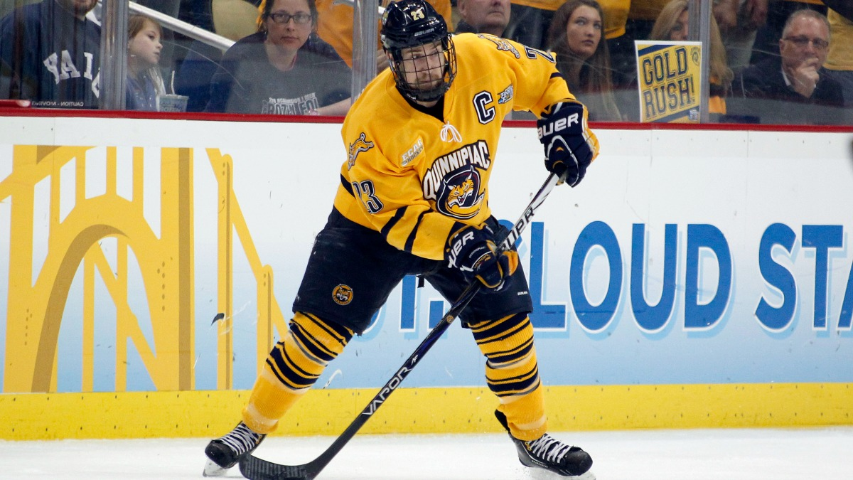 In this photo from 2013, Zack Currie #23 of the Quinnipiac Bobcats skates against the Yale Bulldogs during the game at Consol Energy Center on April 13, 2013 in Pittsburgh, Pennsylvania.