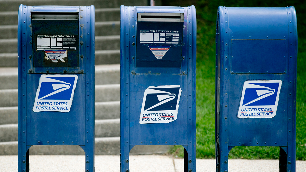 U.S. Postal Service (USPS) mailboxes seen in Washington, D.C., on May 9, 2013.