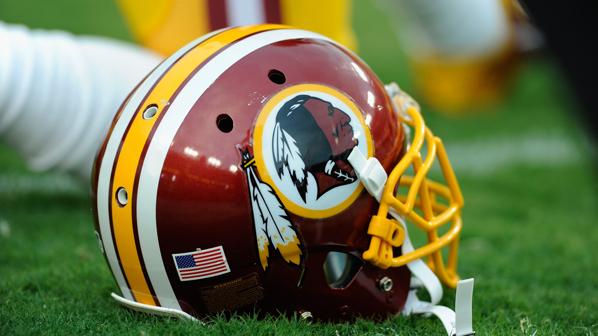A Redskins helmet. A federal judge has ruled that the team should not have a trademark on their name because it's derogatory. The team can appeal the decision.  (Photo by TJ Root/Getty Images)