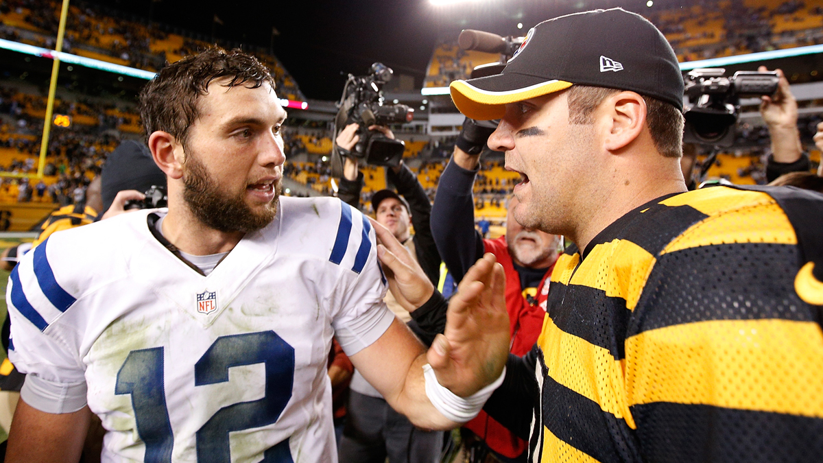 In this October 26, 2014, file photo, Ben Roethlisberger of the Pittsburgh Steelers is congratulated by Andrew Luck of the Indianapolis Colts after Pittsburgh's 51-34 win at Heinz Field in Pittsburgh. The quarterbacks will square off again Thanksgiving 2016.