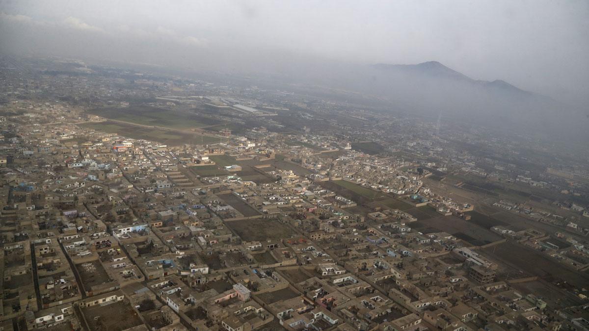An aerial view of Kabul near Hamid Karzai International Airport on Feb. 22, 2015, in Kandahar, Afghanistan.