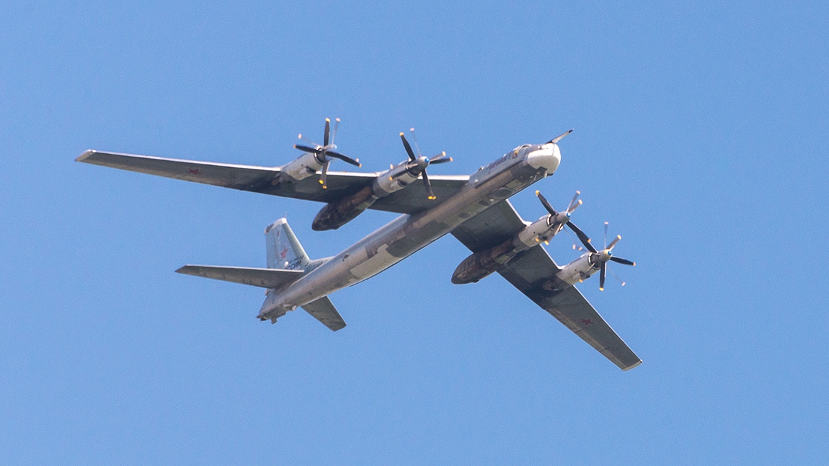 A Tupolev TU-95 Bear, a large, four-engine turboprop-powered strategic bomberis seen in Voronezh region, Russia on Sept. 20, 2014. The U.S. intercepted two Russian TU-95 jets off the coast of Alaska Tuesday.