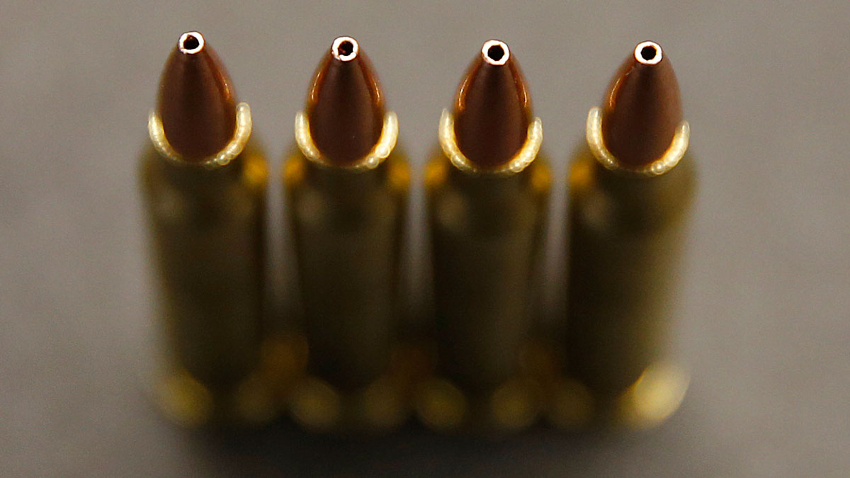 Rounds for an AR-15, .233 or 5.56 caliber, are shown at Barnes Bullets on March 5, 2015 in Mona, Utah.