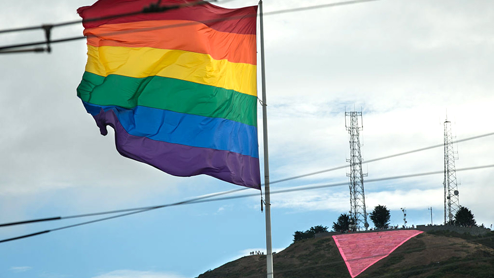 The iconic Pink Triangle is seen in San Francisco.