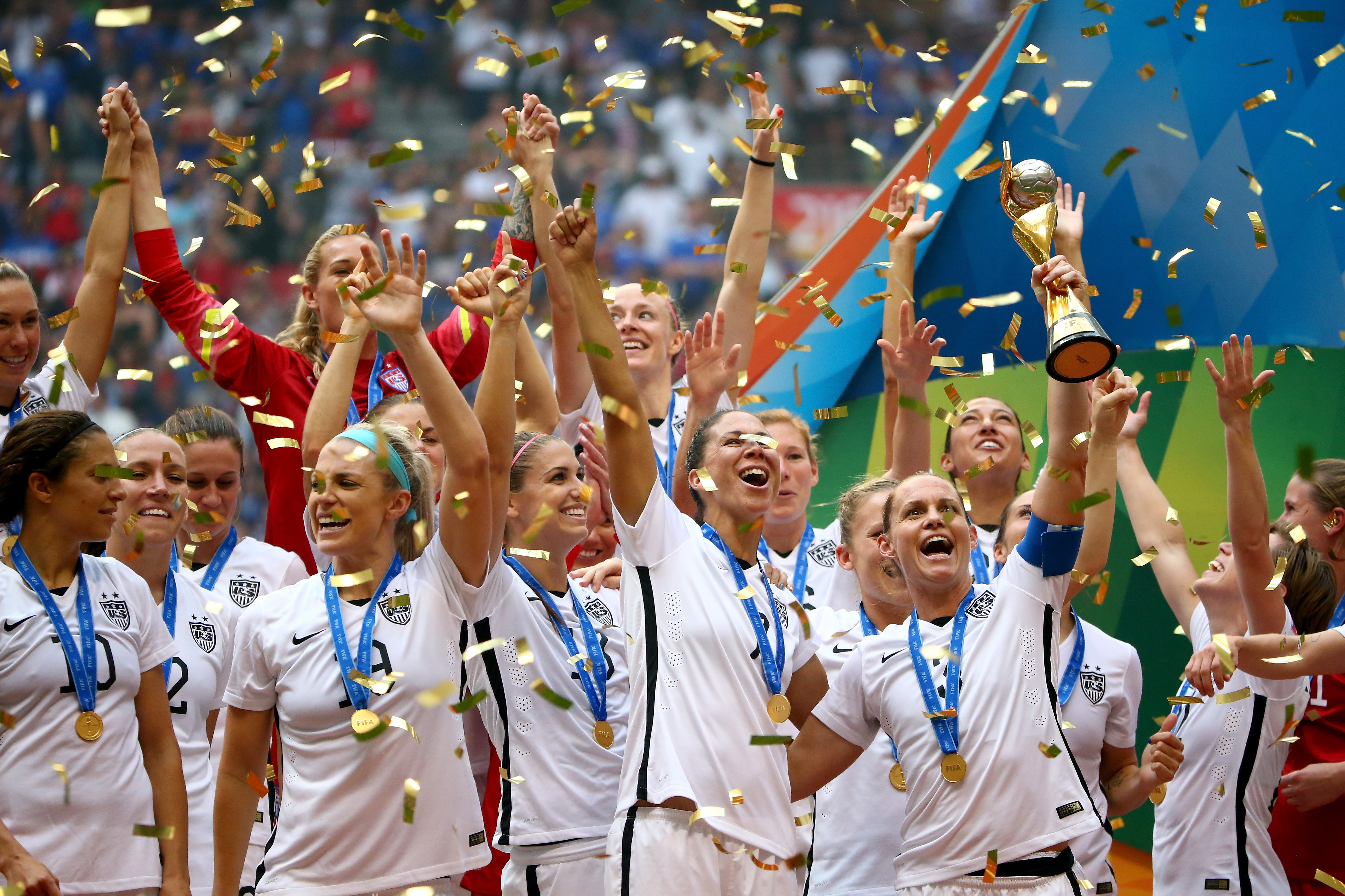 Christie Rampone #3 of the United States of America holds the World Cup Trophy after their 5-2 win over Japan in the FIFA Women's World Cup Canada 2015 Final at BC Place Stadium on July 5, 2015 in Vancouver, Canada. (Photo by Ronald Martinez/Getty Images)