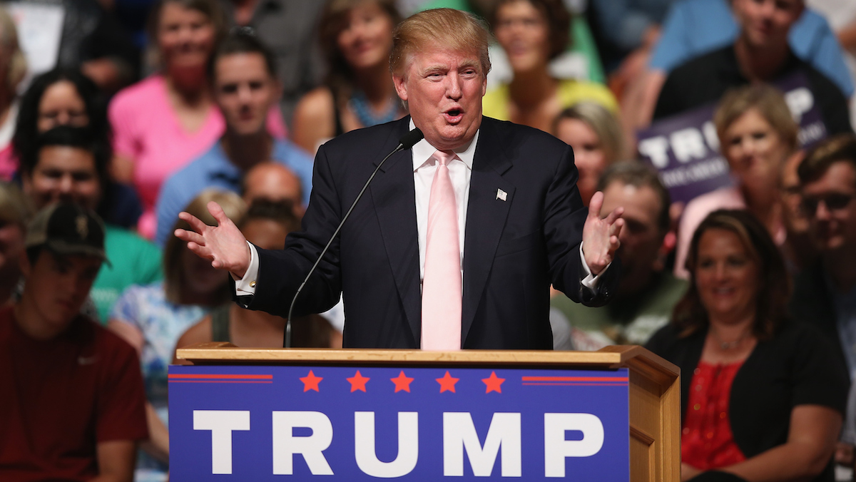 Republican presidential hopeful businessman Donald Trump speaks to guests gathered for a rally on July 25, 2015 in Oskaloosa, Iowa.