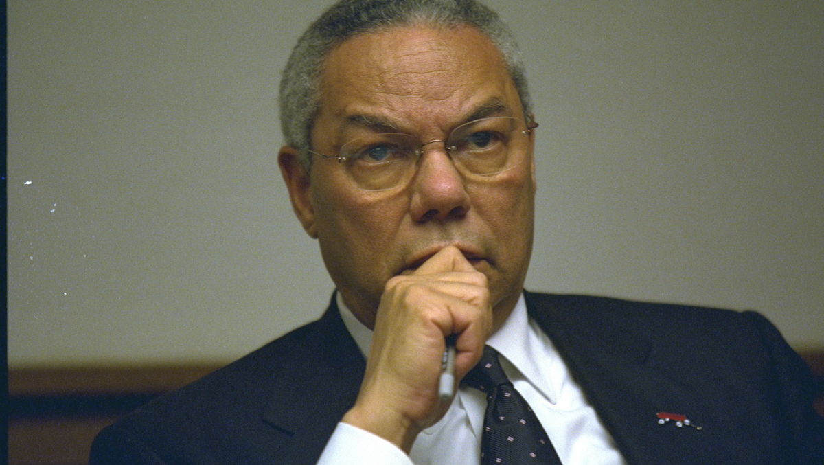 In this file, handout photo provided by the U.S. National Archives, Secretary of State Colin Powell meets in the President's Emergency Operations Center (PEOC) after the terrorist attacks on September 11, 2001 in Washington, DC.