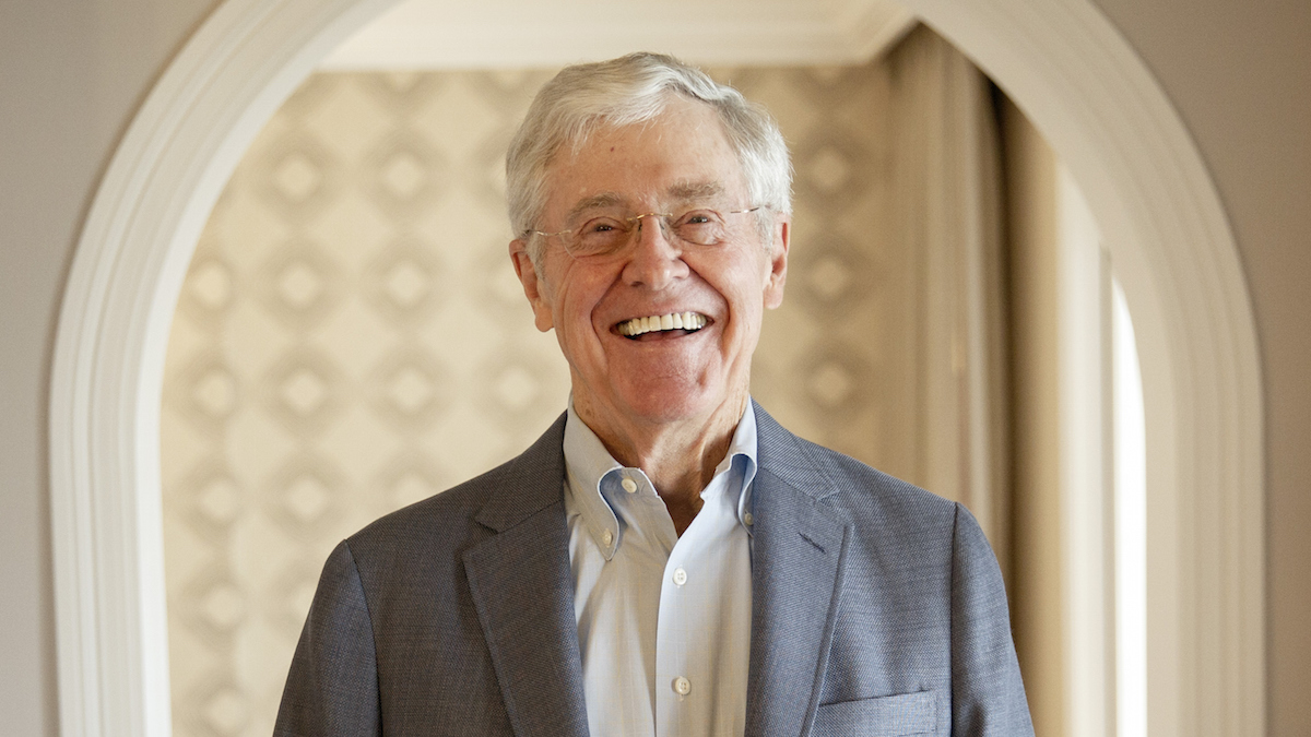 In this file photo, Charles Koch stands for a portrait after an interview with the Washington Post at the Freedom Partners Summit on Monday, August 3, 2015 in Dana Point, CA.