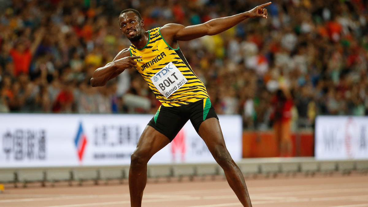 BEIJING, CHINA - AUGUST 23: Usain Bolt of Jamaica celebrates after winning gold in the Men's 100 metres final during day two of the 15th IAAF World Athletics Championships Beijing 2015 at Beijing National Stadium on August 23, 2015 in Beijing, China. (Photo by Christian Petersen/Getty Images for IAAF)