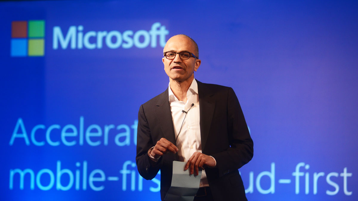 Satya Nadella, Chief Executive Officer of Microsoft, speaking to media at ITC on September 30, 2014 in New Delhi, India.