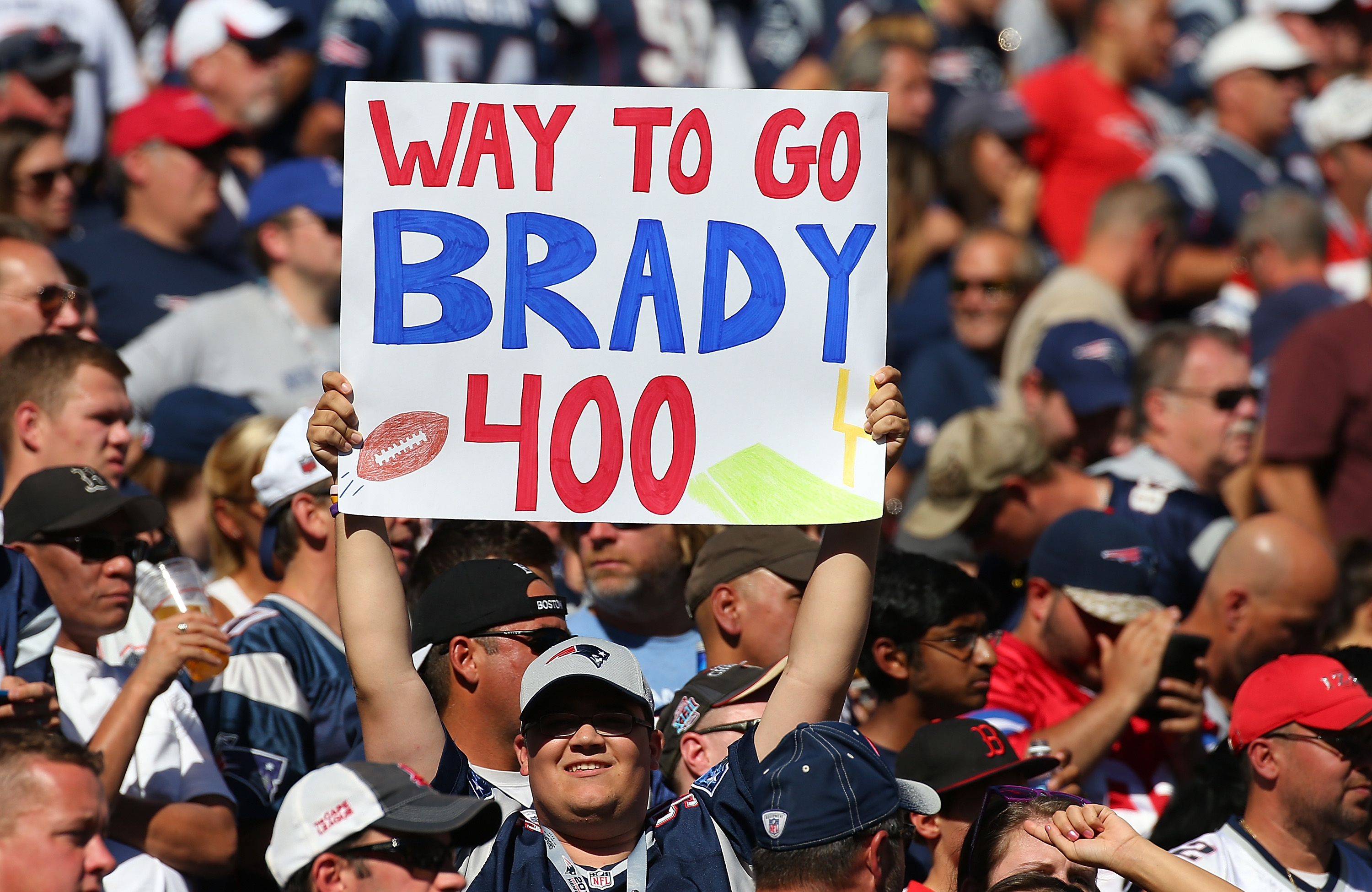 FOXBORO, MA - SEPTEMBER 27:  A fan shows his support for Tom Brady #12 of the New England Patriots who threw his 400 touchdown pass in the second quarter during a game with Jacksonville Jaguars at Gillette Stadium on September 27, 2015 in Foxboro, Massachusetts. (Photo by Jim Rogash/Getty Images)