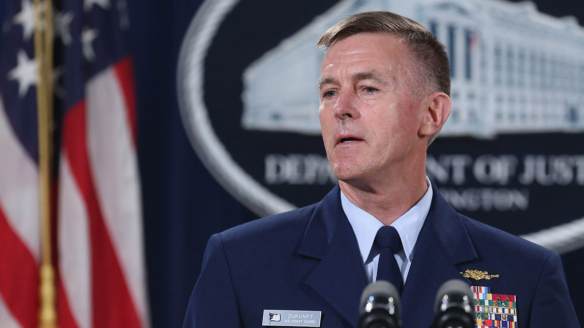 In this Oct. 5, 2015, file photo, Coast Guard Commandant Admiral Paul Zukunft speaks at the Robert F. Kennedy building in Washington, D.C.