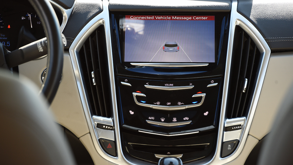 In this file photo, a console of a vehicle with connected technology is seen during a press event in Arlington, Virginia, in 2015.
