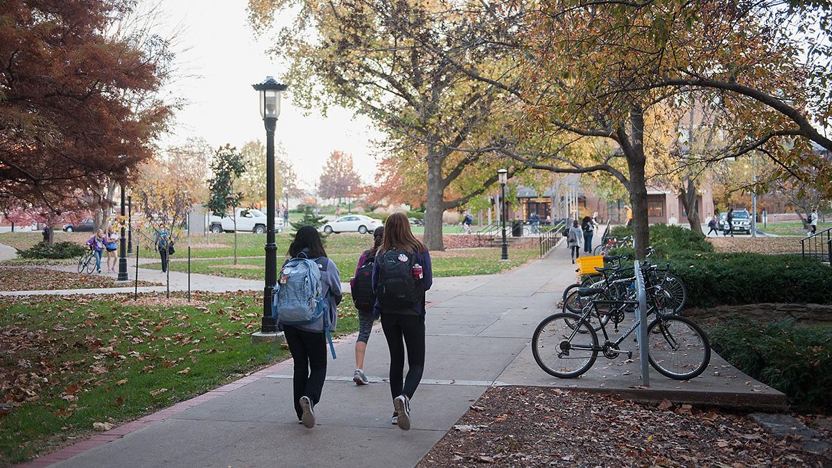 Students walk along on the campus of University of Missouri - Columbia on November 10, 2015 in Columbia, Missouri.