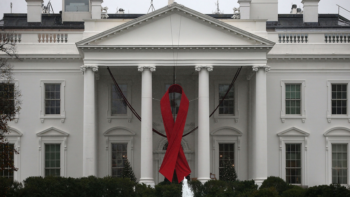 A red ribbon is displayed on the North Portico of the White House to recognize World AIDS Day, Dec. 1, 2015 in Washington, D.C. World AIDS Day has been observed on December 1, since 1988, and is dedicated to raising awareness of the AIDS pandemic caused by the spread of HIV infection, and to mourn those who have died from the disease.