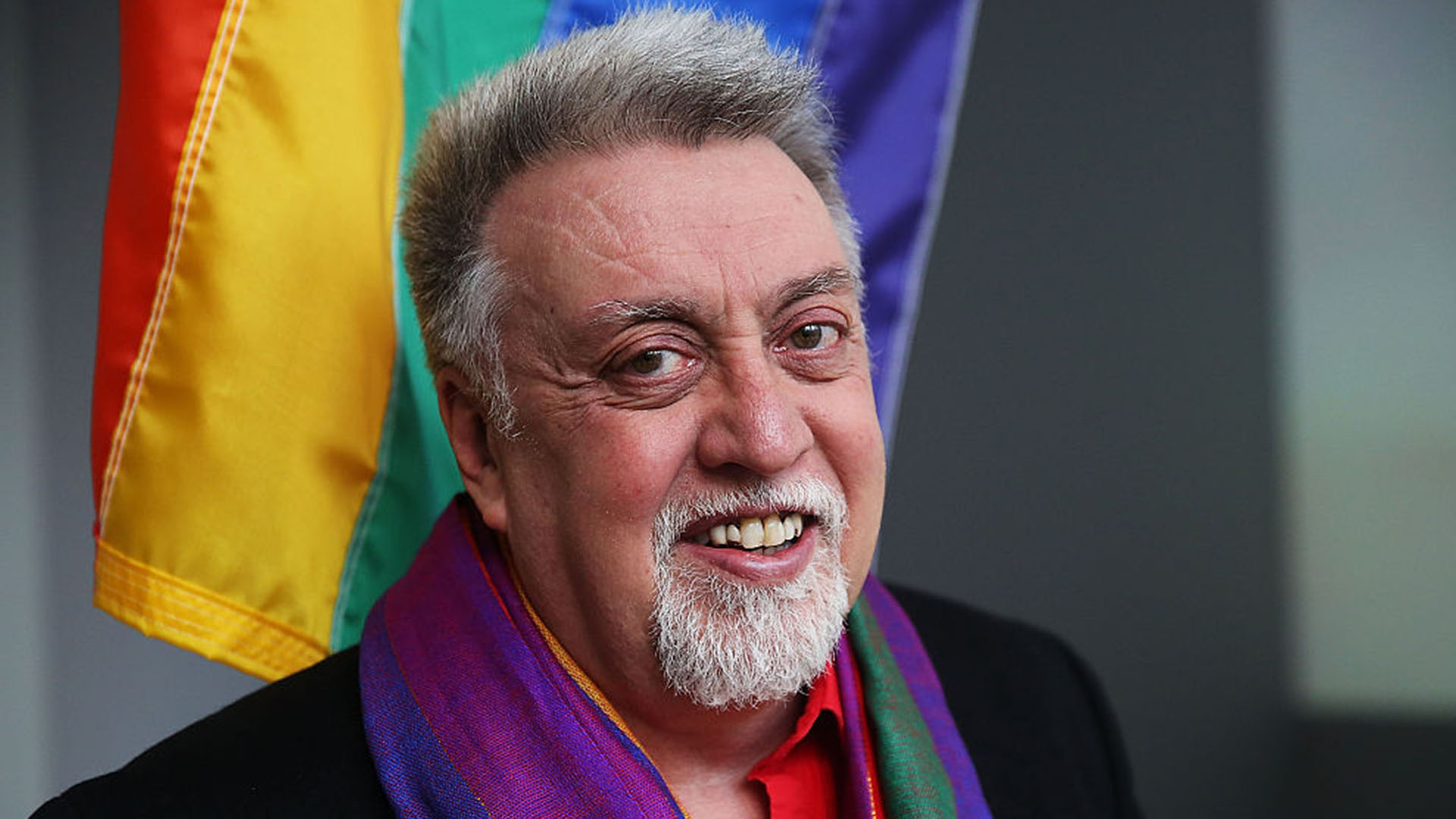 FILE - Gilbert Baker, creator of the iconic rainbow flag used to represent the LGBTQ community and civil rights, died on March 31, 2017, at the age of 65.