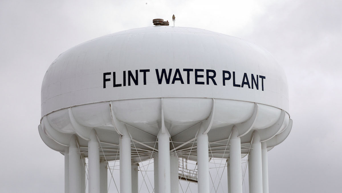 The Flint Water Plant tower is shown January 13, 2016 in Flint, Michigan.