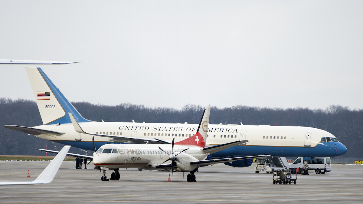 A US plane is pictured on the tarmac of Geneva's airport, on January 17, 2016, as four Iranian-Americans freed by Iran are awaited in Switzerland.Four Iranian-American citizens freed by Iran in a prisoner swap with the United States have left Tehran and are flying toSwitzerland, Iranian state television reported. / AFP / Richard Juilliart (Photo credit should read RICHARD JUILLIART/AFP/Getty Images)