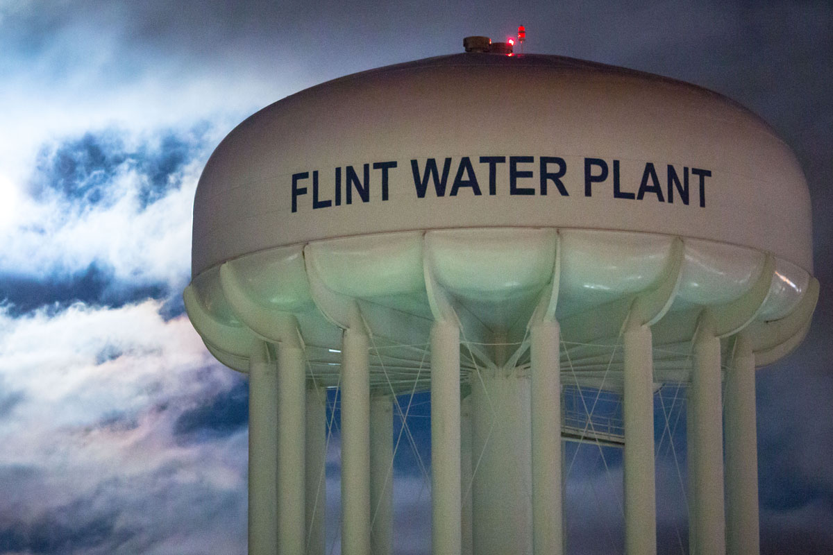 The City of Flint Water Plant is illuminated by moonlight on January 23, 2016 in Flint, Michigan. A federal state of emergency has been declared in Flint due to dangerous levels of contamination in the water supply.