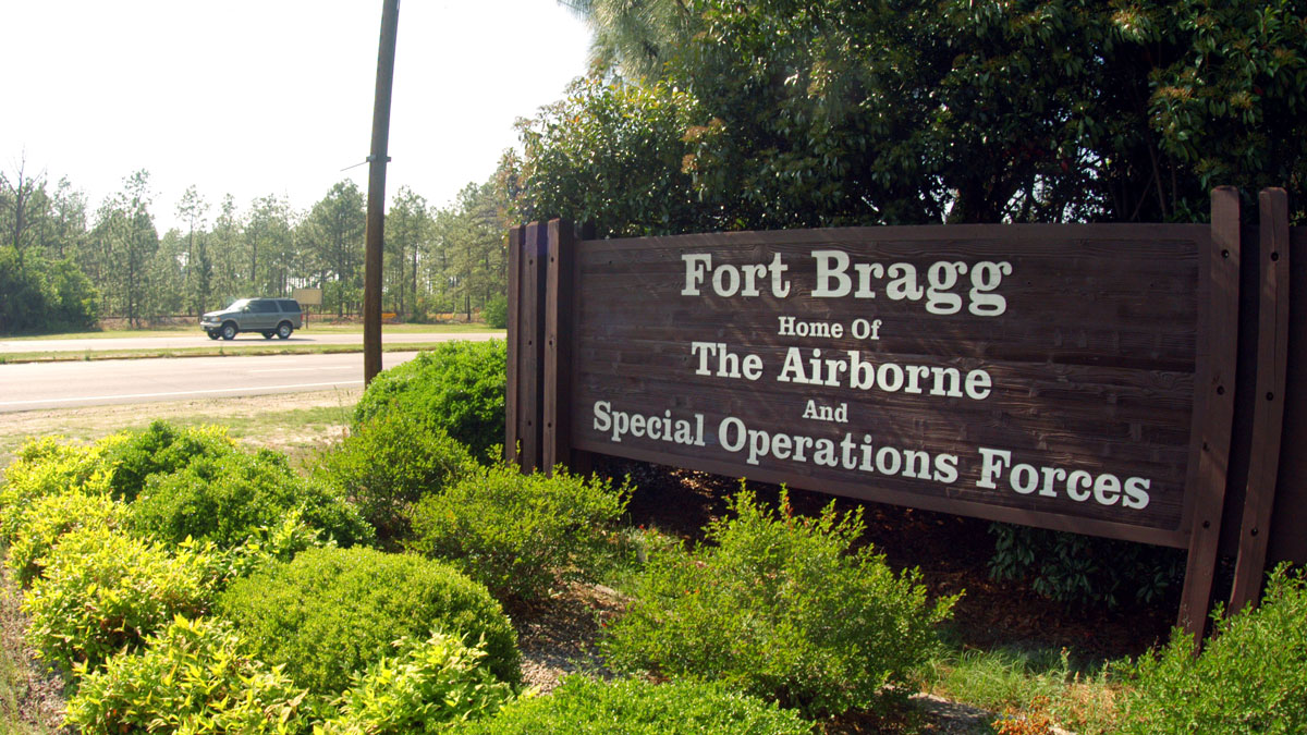 A sign shows  Fort Bragg information May 13, 2004 in Fayettville, North Carolina.