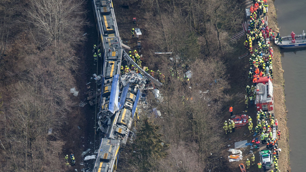 Aerial view shows firefighters and emergency doctors working at the site of a train accident near Bad Aibling, southern Germany, on Feb. 9, 2016.