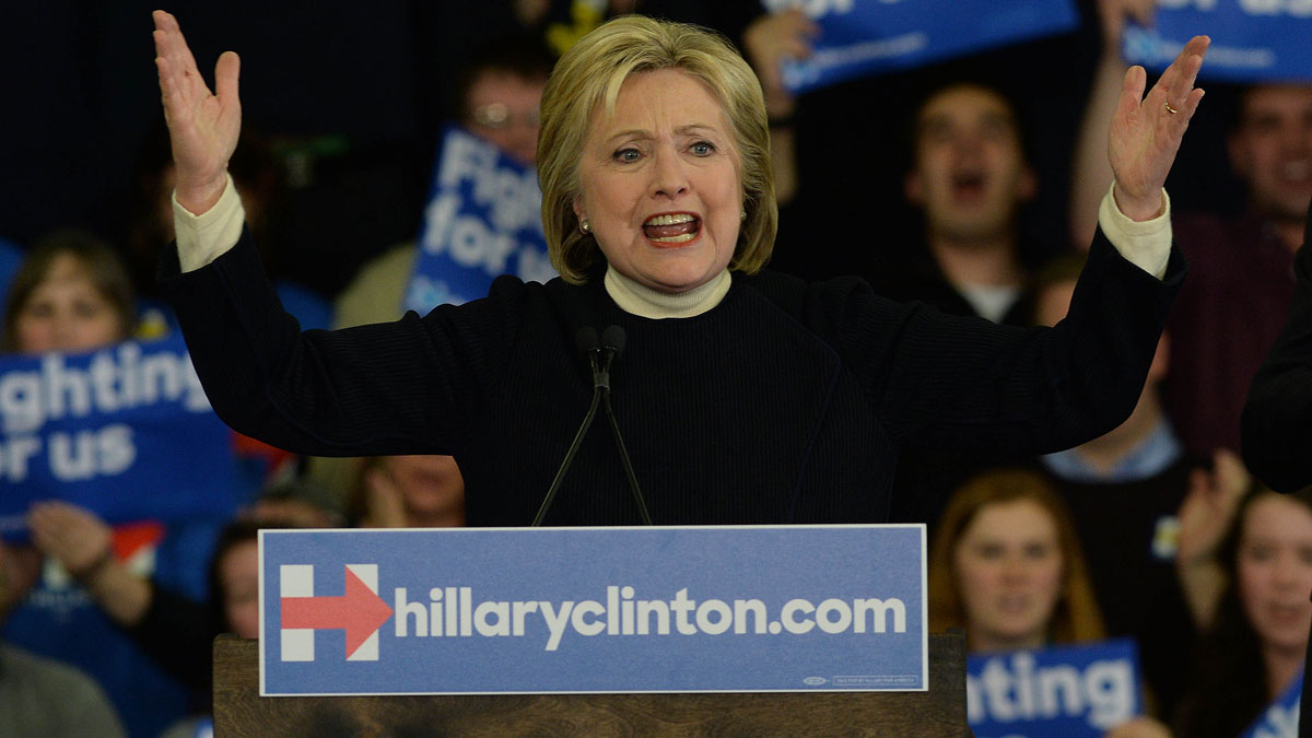 Democratic presidential candidate, former Secretary of State Hillary Clinton speaks during her primary night gathering at Southern New Hampshire University on Feb. 9, 2016 in Hooksett, NH.
