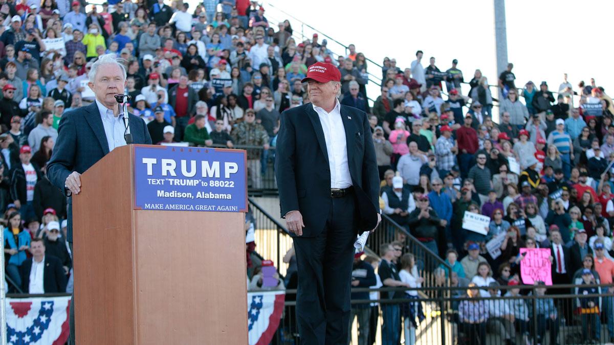 Alabama Senator Jeff Sessions endorses Donald Trump for President at Madison City Stadium on February 28, 2016 in Madison, Alabama.