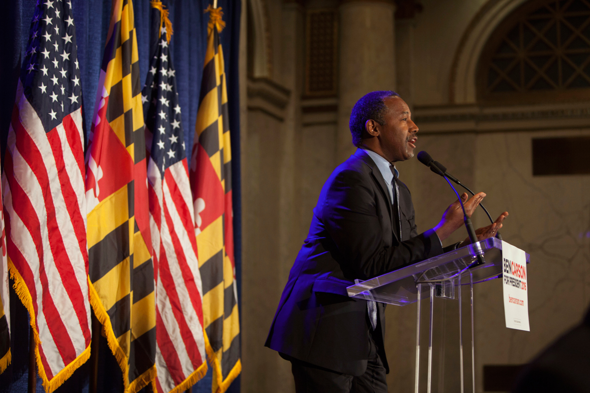 Dr. Ben Carson speaks to supporters at his campaign at his Super Tuesday election party at the Grand Hotel on March 1, 2016 in Baltimore, Maryland.