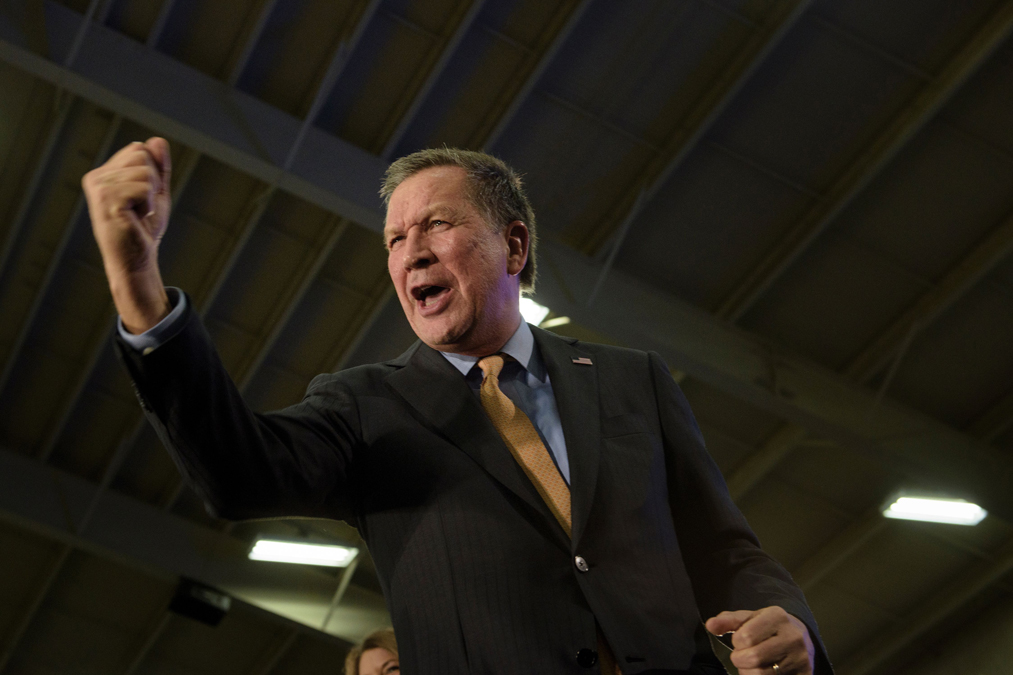 Republican US Presidential hopeful Ohio Governor John Kasich celebrates his Ohio primary victory during voting day rally on March 15, 2016 in Berea, Ohio.