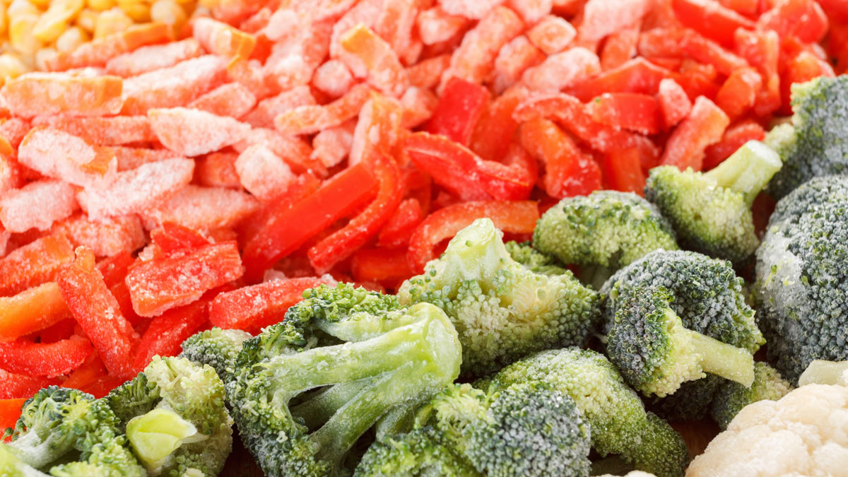 Assorted set of frozen vegetables can be used as background