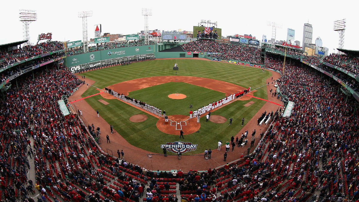 A view of Fenway Park prior to the home opener between the Boston Red Sox and the Baltimore Orioles on April 11, 2016, in Boston, Massachusetts.