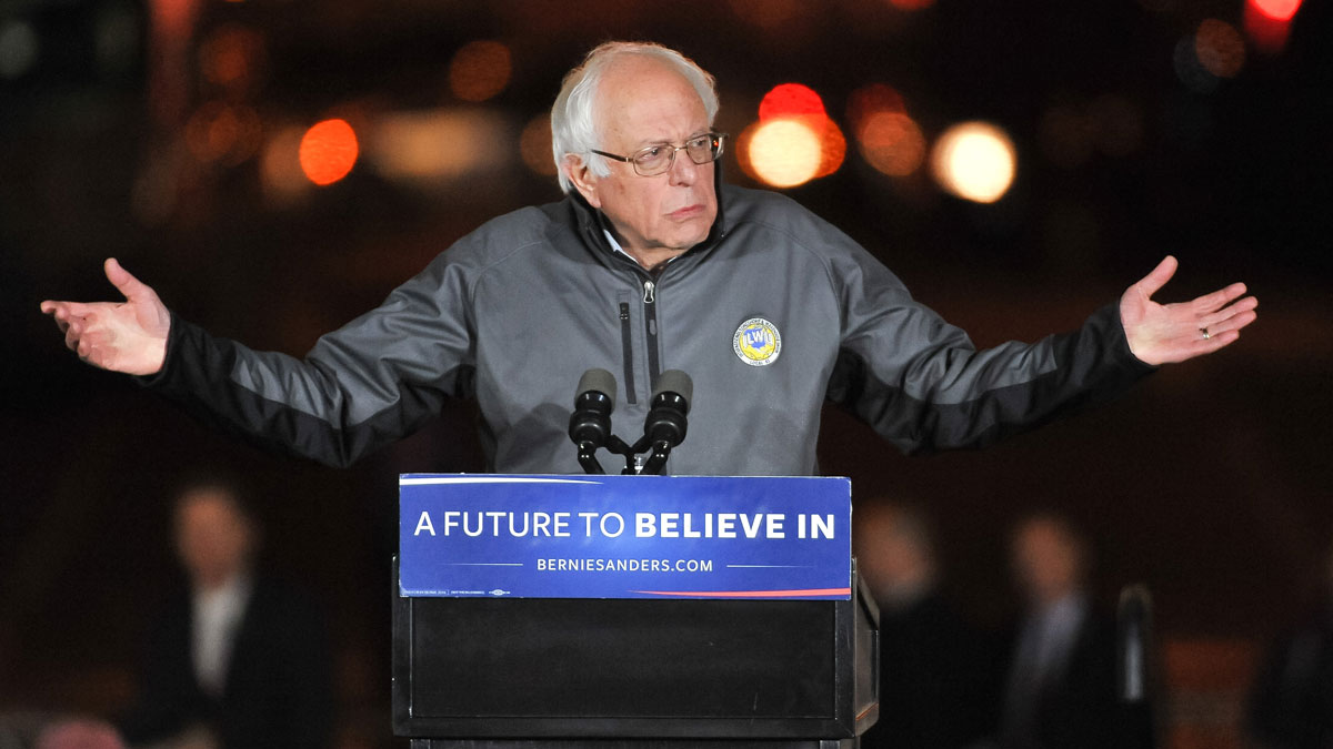 Democratic presidential candidate U.S. Senator Bernie Sanders (I-VT) speaks onstage at a campaign event at Washington Square Park on April 13, 2016 in New York City.