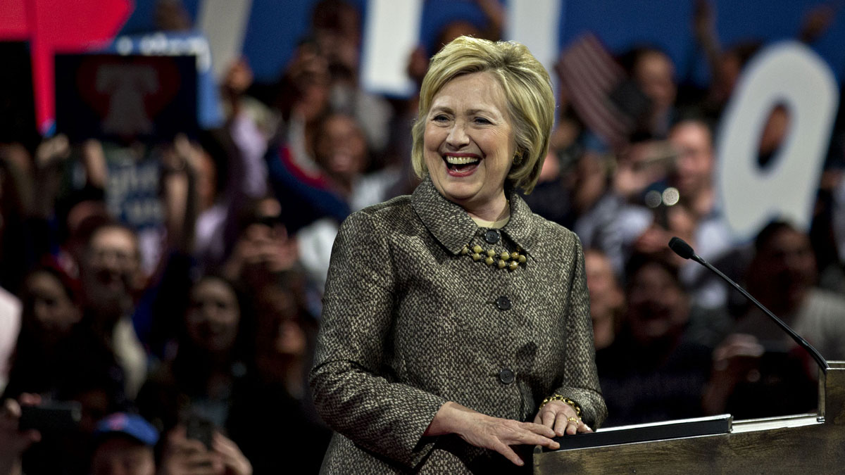 Hillary Clinton, former Secretary of State and 2016 Democratic presidential candidate, smiles while speaking during an election night event at the Philadelphia Convention Center in Philadelphia, Pennsylvania, U.S., on Tuesday, April 26, 2016.