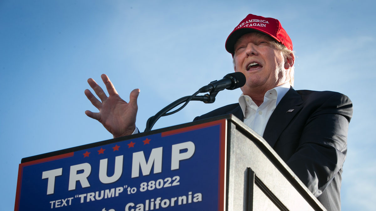 Republican Presidential candidate Donald Trump speaks at a campaign rally on June 1, 2016, in Sacramento, California. Trump is campaigning in California ahead of the states June 7th Republican primary.