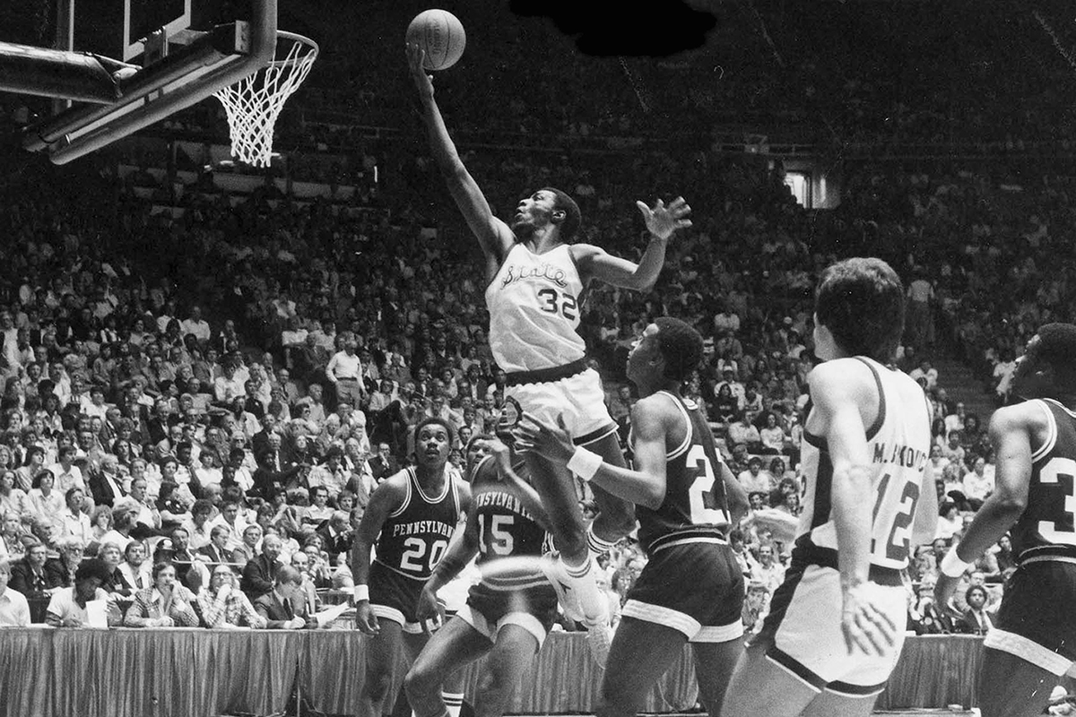 Greg Kelsar (32) of the Michigan State University Spartans drives for a layup against the University of Pennsylvania Quakers during the NCAA National Semifinals on March 24, 1979, at the Special Events Center in Salt Lake City, Utah. The Spartans won 101-67.