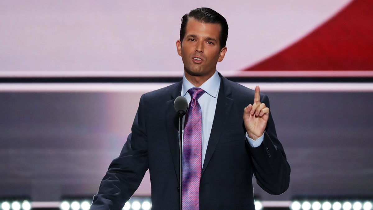 Donald Trump Jr. gestures as he delivers a speech on the second day of the Republican National Convention on July 19, 2016 at the Quicken Loans Arena in Cleveland, Ohio.